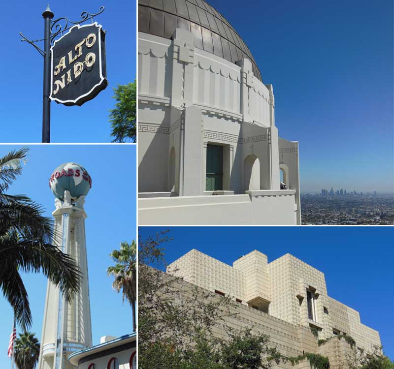 Los Angeles-Alto Nido, Griffith Observatory, Crossroads of the World, Ennis House